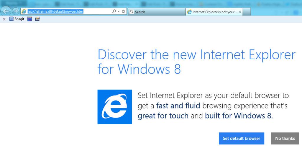 internet explorer default browser message